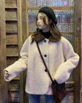 Korean style loose lambs wool tops winter short coat