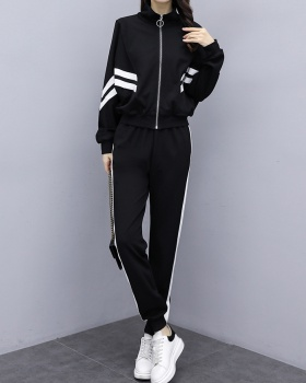Slim fat sister fashion spring sportswear a set for women