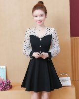 Minority splice temperament pinched waist autumn dress