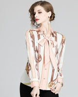 European style printing shirt temperament streamer tops