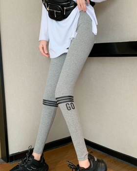 Casual stripe printing leggings spring slim sweatpants