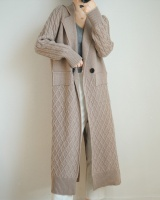 Thick loose knitted sweater long lazy coat for women