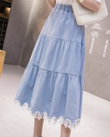 Pleated spring denim skirt lace skirt