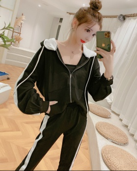 Slim run hoodie loose hooded cardigan 2pcs set for women