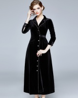 European style black dress retro velvet business suit