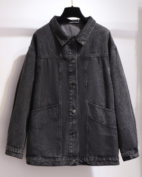 Denim fat spring jacket Casual large yard tops for women