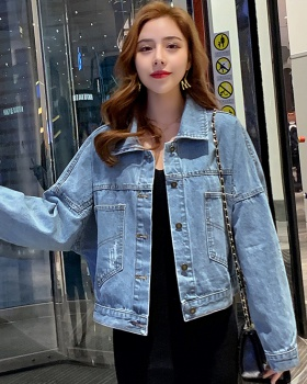 Retro denim coat loose spring and autumn tops