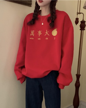 Pullover Korean style embroidery loose hoodie
