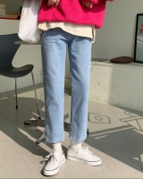 Straight light color nine pants embroidery jeans