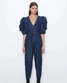 Pinched waist nine pants short sleeve jumpsuit for women