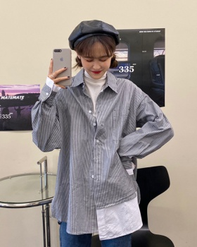 Pseudo-two stripe loose autumn long sleeve shirt for women
