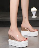 Fish mouth platform high-heeled slippers for women