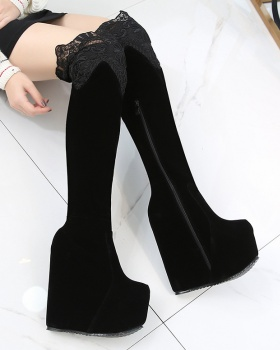 High-heeled within increased thick crust thigh boots for women