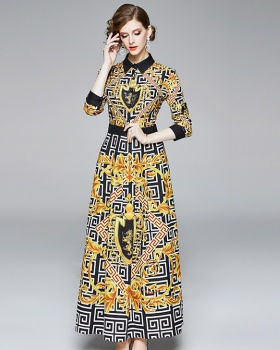 Fashion European style slim pinched waist printing dress
