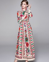 All-match slim European style printing dress