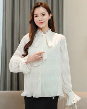Double bow tops crinkling lotus leaf edges shirt for women