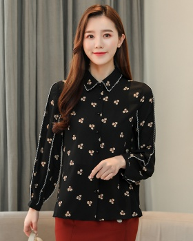 Doll collar floral tops chiffon shirt for women