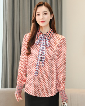 Mixed colors printing satin retro spring shirt for women