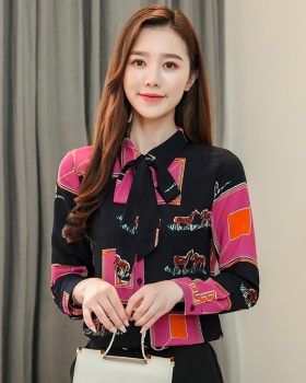 Korean style mixed colors tops floral shirt for women