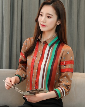 Spring stripe mixed colors tops lapel fashion retro shirt for women