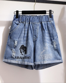 Fat loose shorts wide leg holes short jeans for women