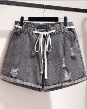 Spring and summer slim shorts holes flanging short jeans for women