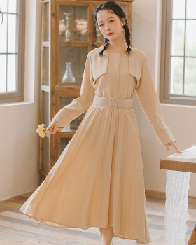 Pinched waist art spring slim with belt long sleeve dress
