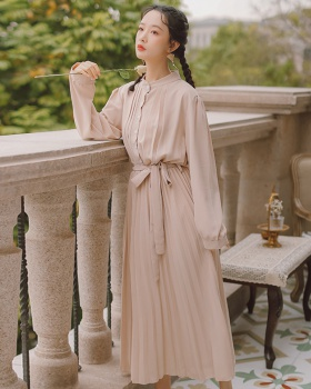 Spring and summer pleated long sleeve simple slim bow dress