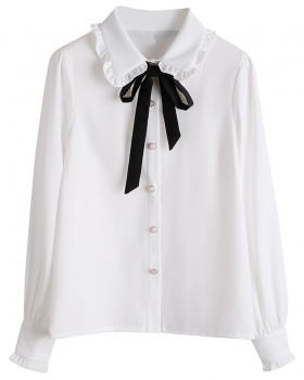 Spring white college style shirt art bandage all-match tops