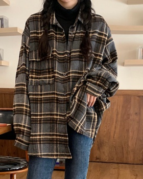 Plaid lapel loose all-match shirt