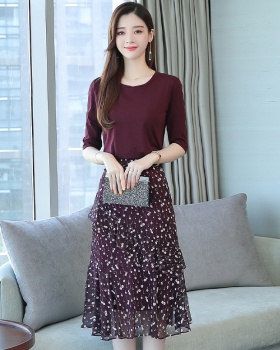 Spring and summer floral long skirt lady skirt 2pcs set