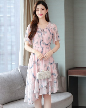 Temperament chiffon student floral slim loose dress for women