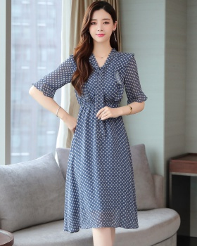 Exceed knee polka dot fashionable chiffon dress for women