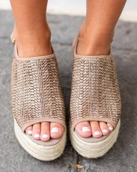 Breathable weave slipsole fish mouth sandals for women
