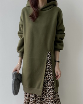 Plus velvet thick hoodie leopard autumn and winter dress for women
