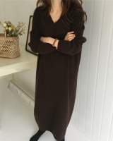V-neck rabbit fur dress thick knitted sweater