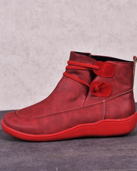 Flat elastic rome short boots for women