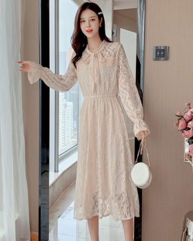 Trumpet sleeves bow frenum bottoming sweet lace dress for women