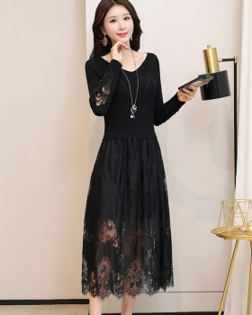 Long lace sweater dress black knitted dress for women