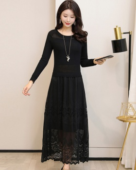 Black spring dress fashion knitted sweater dress for women