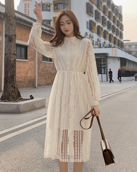 France style long sleeve long lace spring dress for women