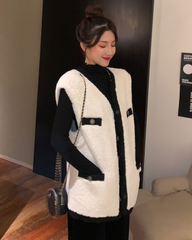 Splice lambs wool waistcoat mixed colors coat for women