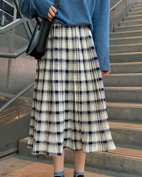 Retro plaid elastic waist long skirt