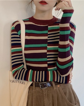 Long sleeve stripe splice spring sweater