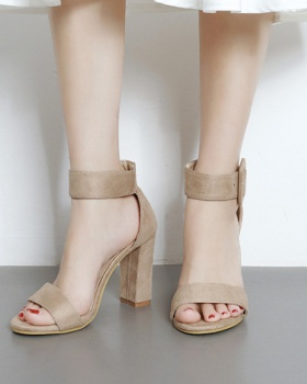 Thick refreshing spring shoes high-heeled simple sandals
