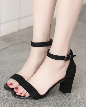 British style broadcloth high-heeled thick hasp sandals