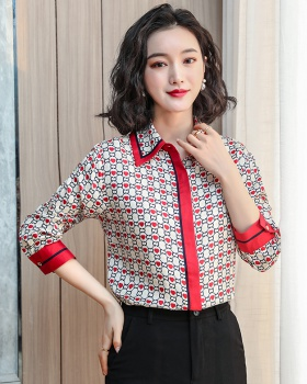 European style silk real silk tops colors Western style shirt