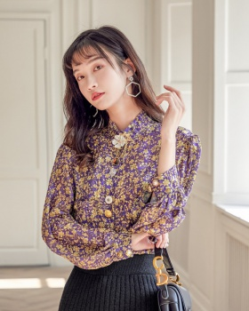 Printing retro refinement spring buckle flowers shirt