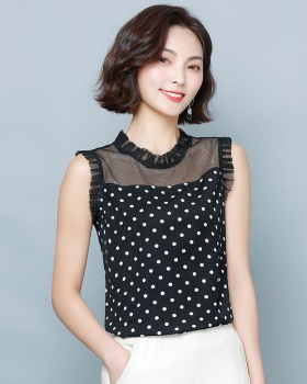Splice polka dot vest short sleeve tops for women