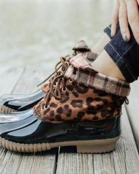 Leopard boots waterproof short boots